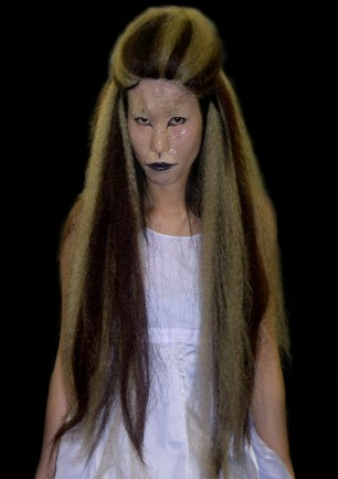 Kumiho (Nine Tailed Fox - Korean myth), Wig glued and styled, face textured with gelatin