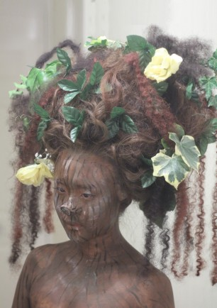 Tree Woman, wig dressing, small prosthetic piece, body painting